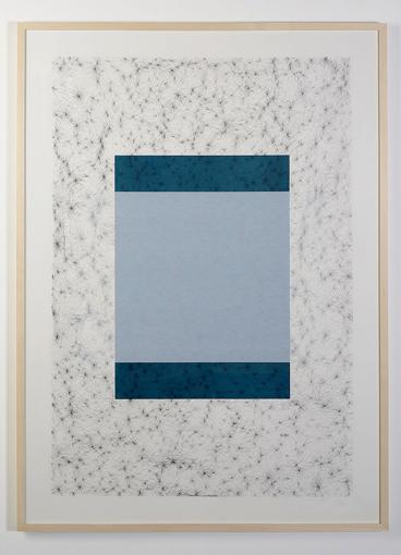 Cécile Meynier 2016, Série bleue, n°1/5, mine de plomb et sérigraphie photo©NicolasWaltefaug