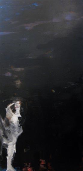 Hélène Milakis, Chiens errants, 2014, acrylique sur toile, 195x97 cm