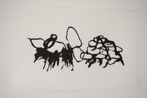 Laurence Nicola, Composition, avril 2016, collage, encre de chine sur papier murier marouflé. 45 x 55 cm