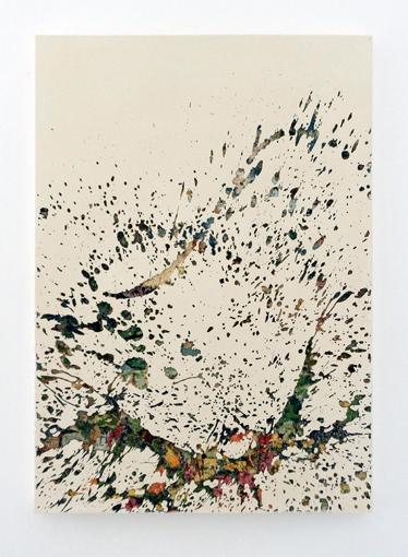Éclaboussure 5 - 2016 - résine, canevas chinés, gravure manuelle, sur bois. 135x95cm.