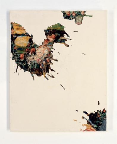 Drops 4 - 2017 - résine, canevas chinés, gravure manuelle, sur bois. 62x49 cm.