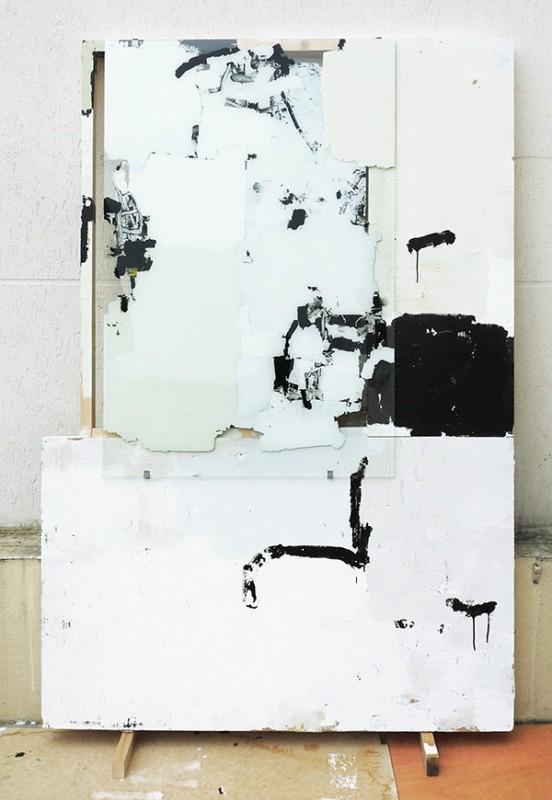 """""""Sans-titre"""" - Acrylique, enduit, sur verre et contreplaqué - 195 x 150 cm - 2018."""
