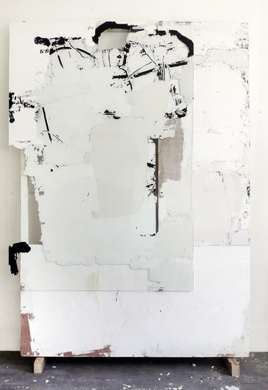 """""""Sans-titre"""" - Acrylique, enduit, sur verre et contreplaqué - 150 x 100 cm - 2018."""