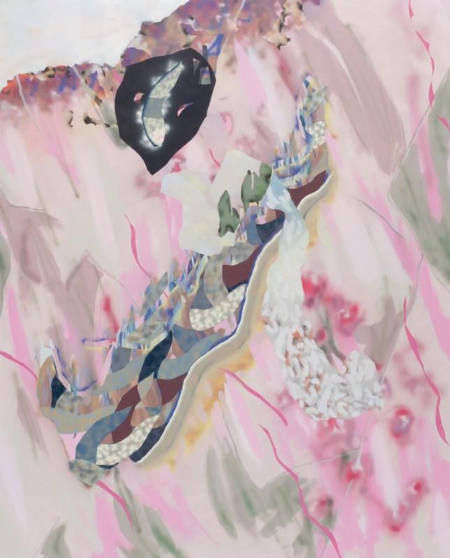 Cartouche, 2018, Acrylique sur toile, 130 x 160 cm